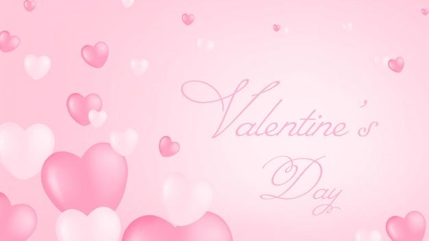 Fundo de corações rosa dia dos namorados, contém texto