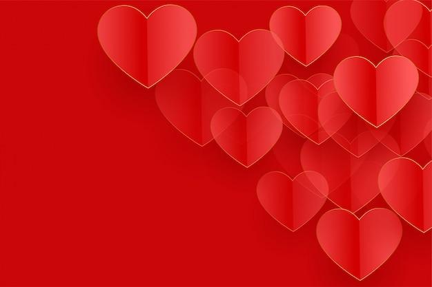 Fundo de corações vermelhos lindos com espaço de texto