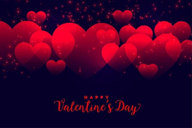 Fundo de corações vermelhos românticos para dia dos namorados
