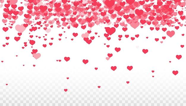Fundo de corações vermelhos voando. de fundo vector dia dos namorados. banner festivo e pôster. textura rosa celebração