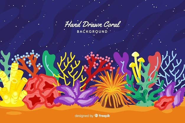 Fundo de coral colorido mão desenhada
