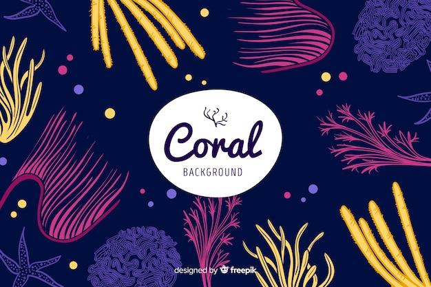 Fundo de coral escuro de mão desenhada