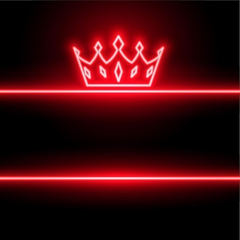 Fundo de coroa vermelha em estilo néon