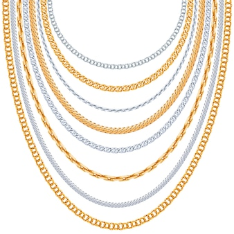Fundo de correntes de ouro. suspensão prateada, elo metálico brilhante