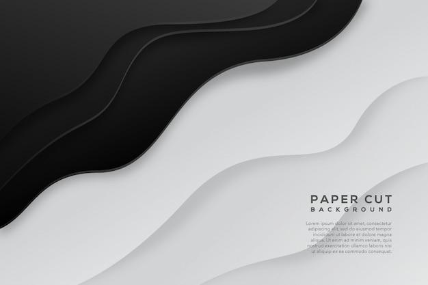 Fundo de corte de papel abstrato branco preto