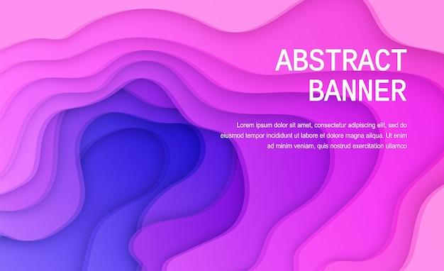 Fundo de corte de papel de cor roxa e azul cartaz de papel rosa suave abstrato com camadas onduladas