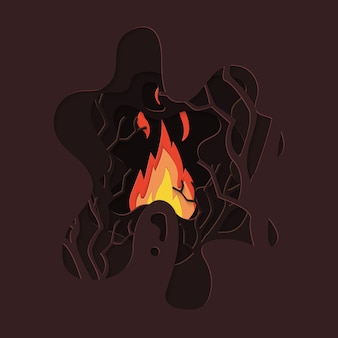 Fundo de corte de papel de ramo de fogo