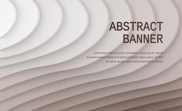 Fundo de corte de papel decoração de papel realista abstrata para gradiente ondulado de design de branco a marrom