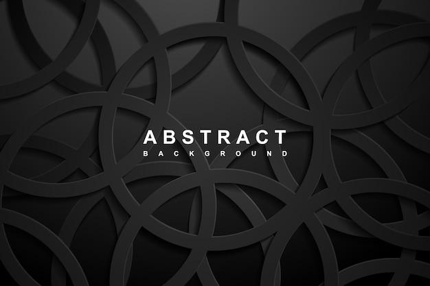 Fundo de corte de papel geométrico 3d abstrato com cores pretas escuras.