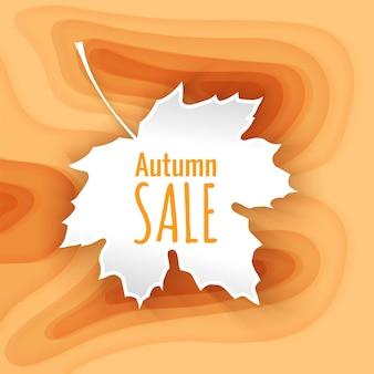 Fundo de corte de papel laranja modelo de banner de venda de outono com formas de corte de papel amarelo