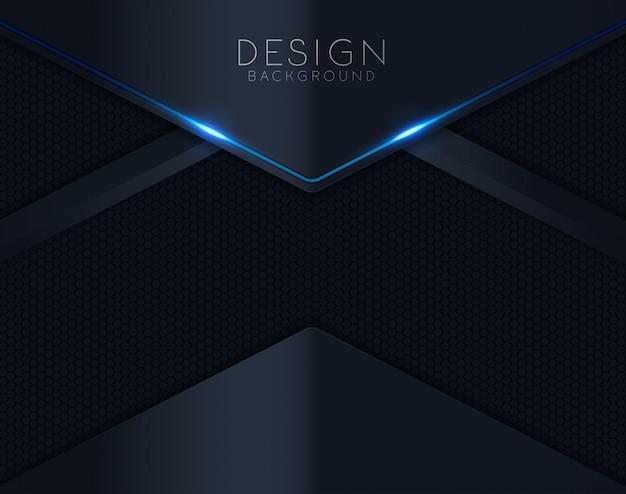 Fundo de corte de papel preto com azul brilhando