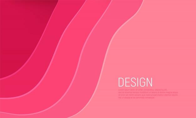 Fundo de corte de papel rosa com camadas de ondas rosa