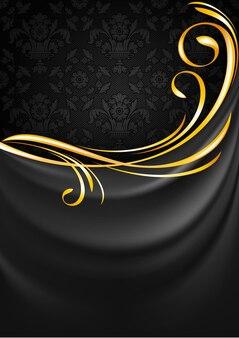 Fundo de cortina de tecido cinza escuro. vinheta de ouro Vetor Premium