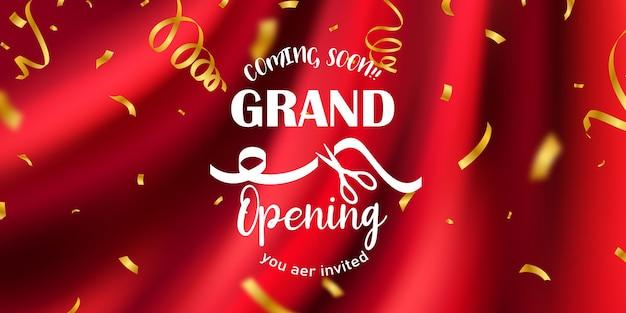 Fundo de cortina vermelha. projeto de evento de inauguração. fitas de confete ouro. cartão rico de saudação de luxo.