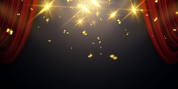 Fundo de cortina vermelha. projeto de evento de inauguração. fitas de confete ouro.