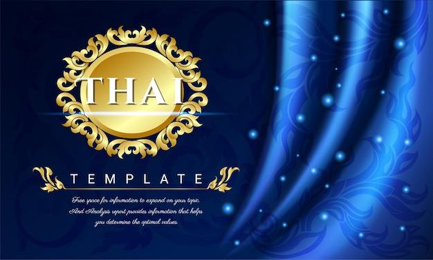 Fundo de cortinas azuis, conceito tradicional tailandês as artes da tailândia.