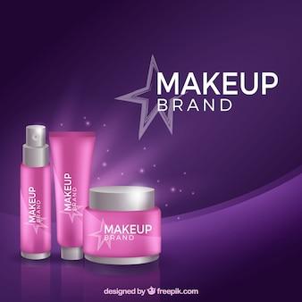 Fundo de cosméticos com design plano
