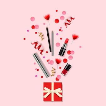 Fundo de cosméticos e moda com maquiagem de objetos de artista: batom, cílios, unhas. conceito de ilustração design moderno para o site e desenvolvimento de site móvel.