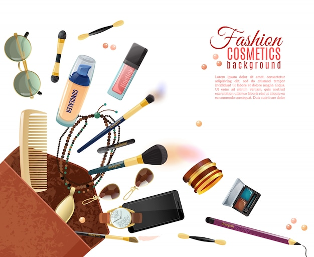 Fundo de cosméticos moda