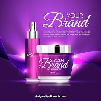 Fundo de cosméticos roxos brilhantes