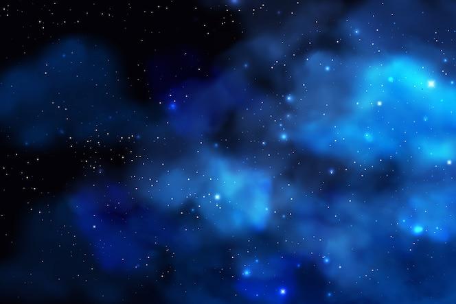 Fundo de cosmos com poeira estelar realista; nebulosa e estrelas brilhantes. cenário colorido galáxia.