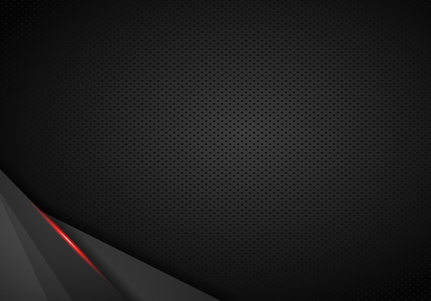 Fundo de couro chrome automotive. fundo metálico preto e vermelho. ilustração vetorial
