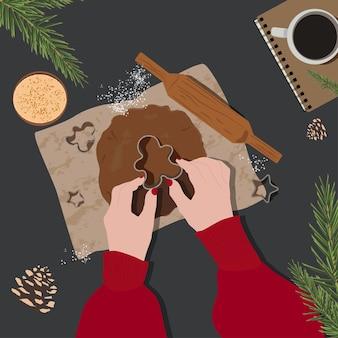 Fundo de cozimento do vetor de natal e ano novo. ilustração de pão de gengibre plana. cenário de festa. padrão de desenho animado de férias. celebração tradicional do inverno.