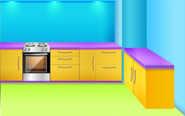 Fundo de cozinha com prateleiras fogão luz da janela