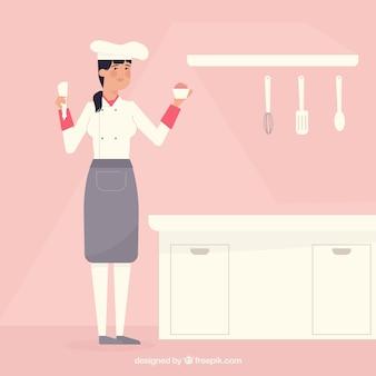 Fundo de cozinha cor-de-rosa com cozinheiro chefe de pastelaria