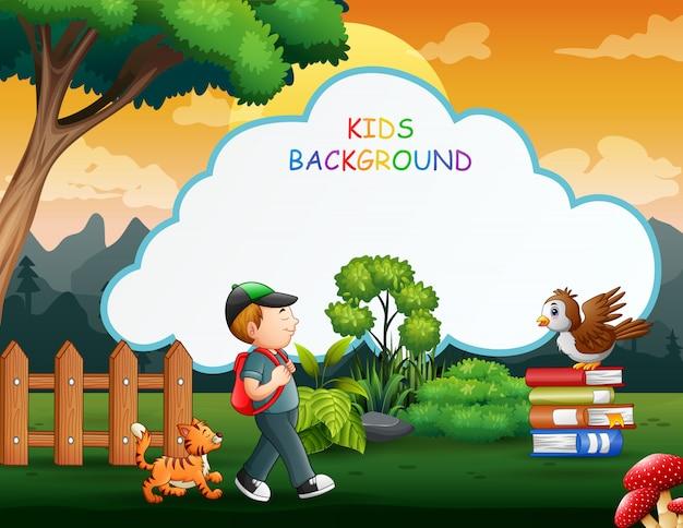 Fundo de crianças com menino andando com seu animal de estimação