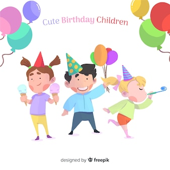 Fundo de crianças de aniversário bonito