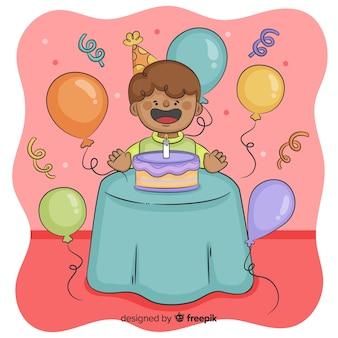 Fundo de crianças de aniversário de mão desenhada