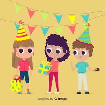 Fundo de crianças de aniversário plana
