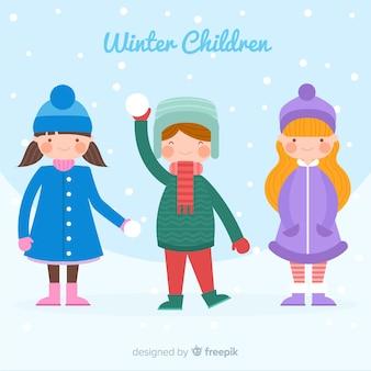 Fundo de crianças de inverno colorido