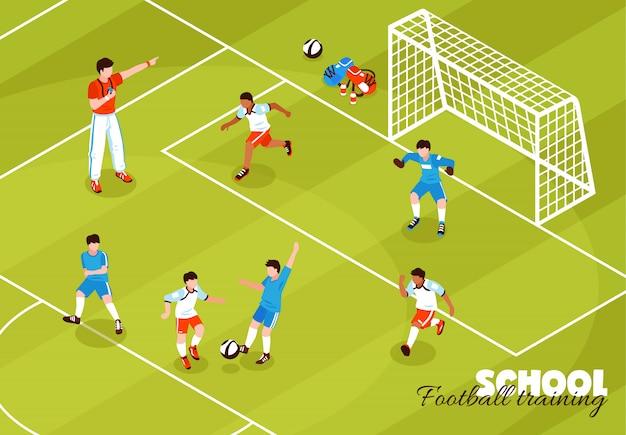Fundo de crianças de treinamento de futebol