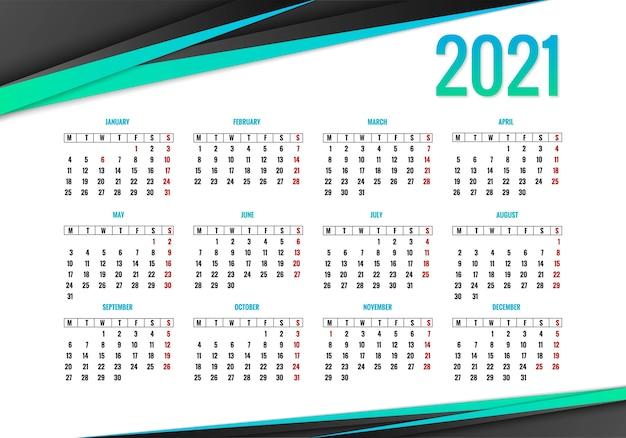 Fundo de criativo do calendário 2021 elegante