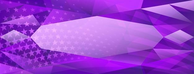 Fundo de cristal abstrato do dia da independência dos eua com elementos da bandeira americana nas cores roxas