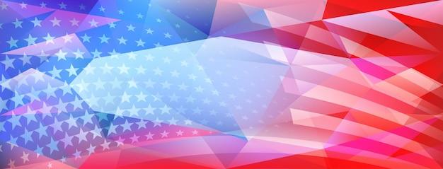 Fundo de cristal abstrato do dia da independência dos eua com elementos da bandeira americana nas cores vermelha e azul
