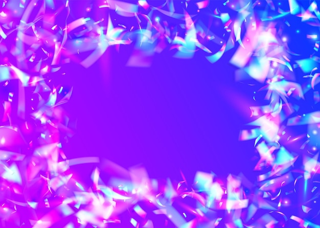 Fundo de cristal. folha de férias. arte festiva. confetes holográficos. desfoque comemorar ilustração. violet shiny sparkles. tinsel de aniversário. retro flyer. fundo de cristal rosa