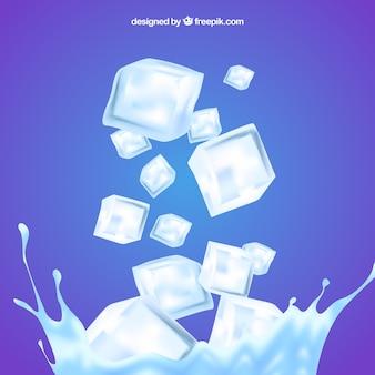 Fundo de cubo de gelo com água