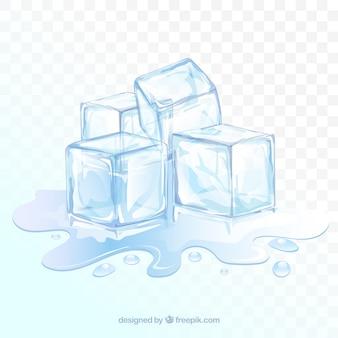 Fundo de cubo de gelo com estilo realista