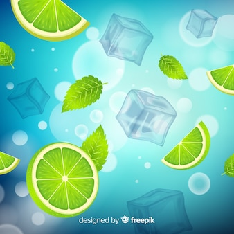 Fundo de cubo de gelo refrescante