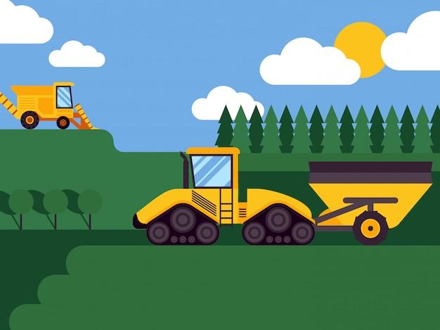 Fundo de cultivo sazonal da ilustração da cena da paisagem da ceifeira agrícola da colheitadeira.