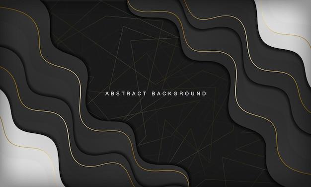 Fundo de curva preto e branco abstrato de luxo com elementos de linha dourada