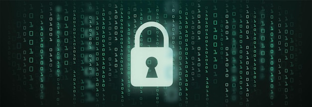 Fundo de dados cibernéticos de código binário de sinal de proteção digital