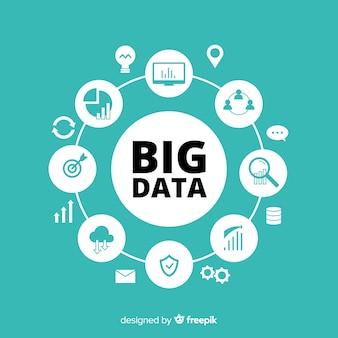Fundo de dados grandes estilo plano criativo