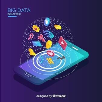 Fundo de dados grandes telefone isométrico