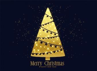 Fundo de decoração de árvore de Natal de brilhos dourados