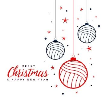 Fundo de decoração de bugiganga de feliz natal em cores planas