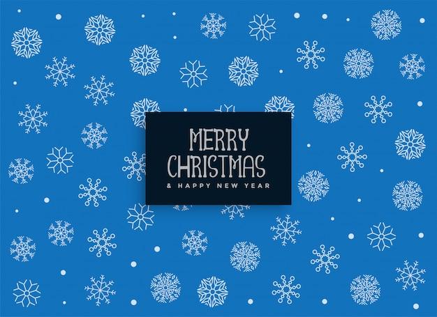 Fundo de decoração de flocos de neve azul feliz natal